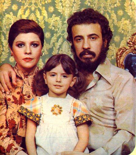 زری خوشکام و علی حاتمی و دخترشان لیلا حاتمی