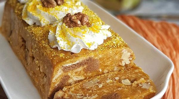 کیک موزاییک کدو حلوایی