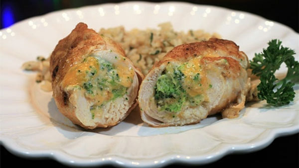 رولت سبزیجات با مرغ و پنیر