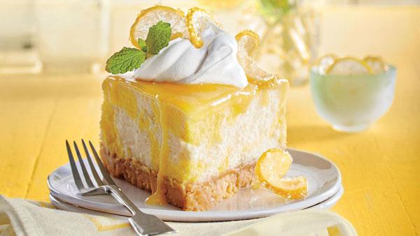 چیز کیک یخچالی لیمو و کیوی